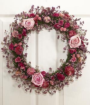 "18"" diameter wreath  Santa Cruz oregano, strawflower, globe amaranth, pink roses, pink coxcomb"