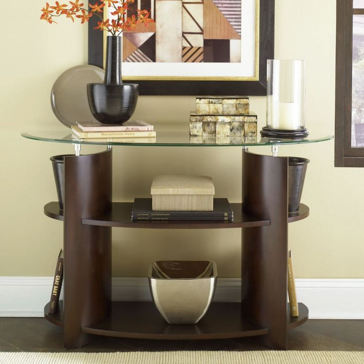 Contemporary Dark Cherry Finish Glass Top Entry Hall Way Accent Console  Table #Contemporary