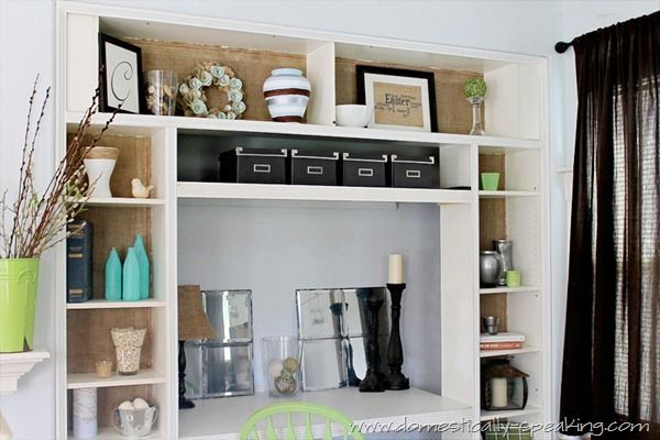 Burlap'ified Bookshelves from IKEA: Domestic Speaking, Crafts Rooms, Built In, Offices Spaces, Bookshelf Desks, Burlapifi Bookshelves, House, Desks Ideas, Burlap Ifi Bookshelves