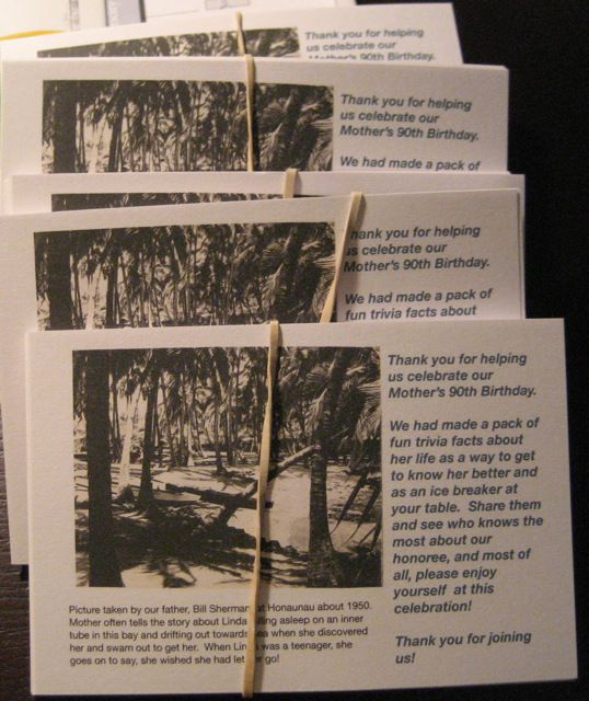 set of 10 trivia cards each w/ different picture & trivia