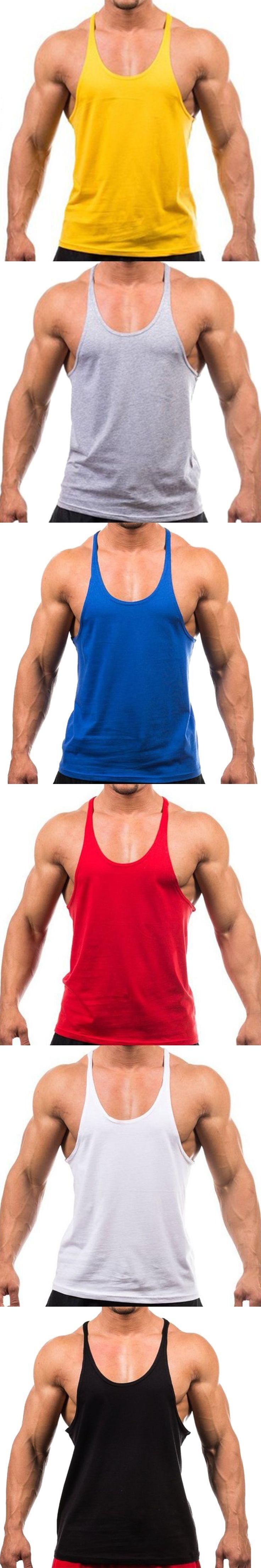 Hot New 2017 Men Tank Top Cotton Soft Fitness Vest For Men Bodybuilding Tank Tops Casual Clothing Men Solid 6Color M-XXL