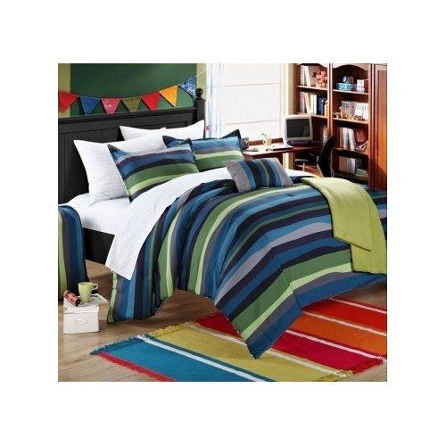 Reversible Teen Boys Dorm Comforter Bedding Set Blue Grey Green Stripes  With Sheet Set Full Or Part 62