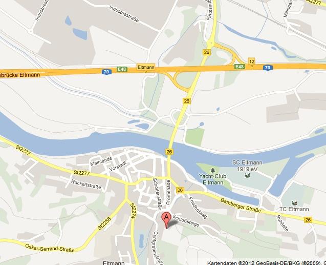 Anfahrt Pension Wallburg in Eltmann