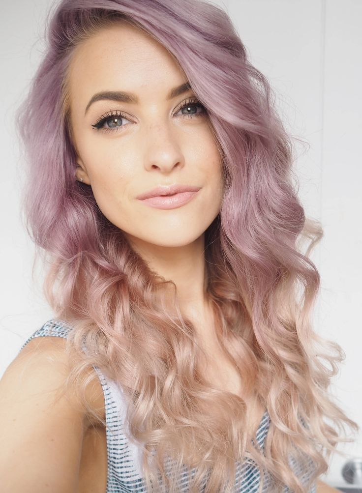 Curly purple lilac to blonde hair