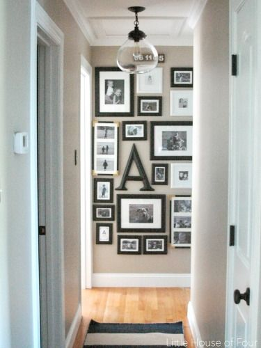 With an 'S' and family photos around and maybe interspersed with hearts?? Above the stairs??
