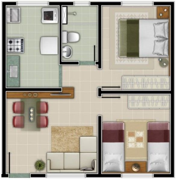Planos para una casa economica de 6x5 ideas creativas for Diseno de apartamento de 4x8 mts