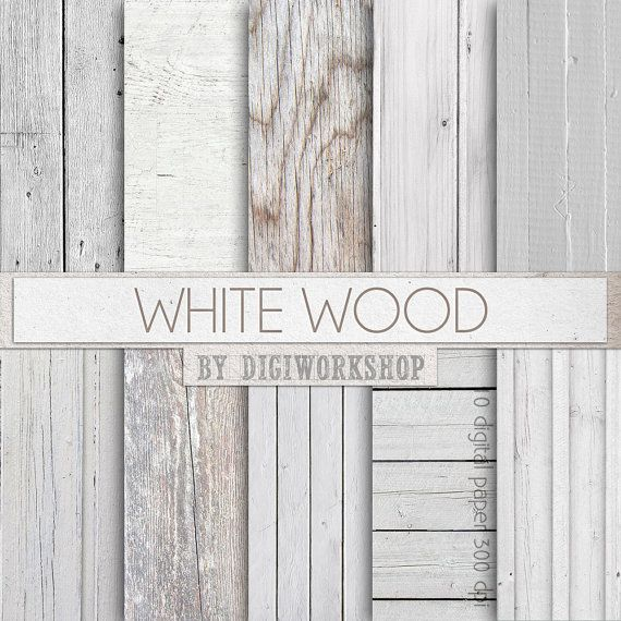 """Wood Digital paper - """"White Wood"""" with digital wood textures and digital wood backgrounds in white, gray and neutral colors"""