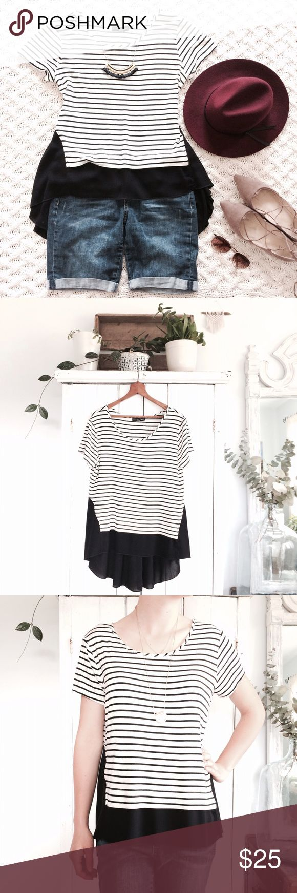 🆕 NWTs striped high low flowy tunic New with tag barb. Perfect condition. Black and white stripes with flowy back panel. High low design. Size medium. Bust 20 inches. Length 24 in front and 31 inches in the back. (Measurements based on the medium.) Dramatic! Kim and Cami Tops Blouses