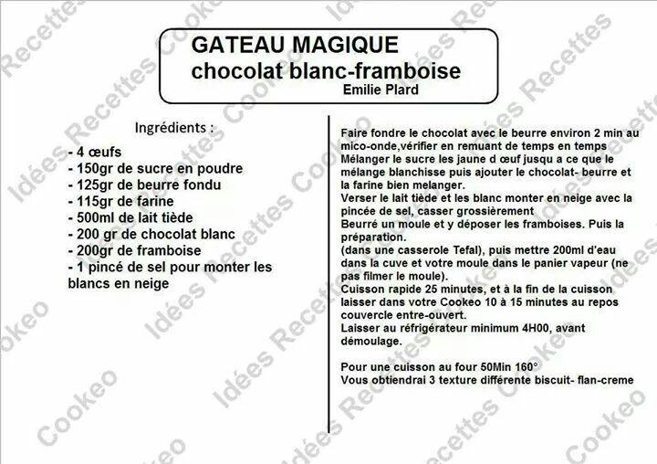 Gateau magique chocolat blanc framboise