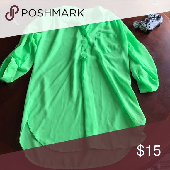 Giddy up glamour sheer top Giddy up glamour sheer neon green top ! Worn twice! Size small but fits more medium ! Super cute and flowy on ! Smoke free and stain free ! Tops Blouses