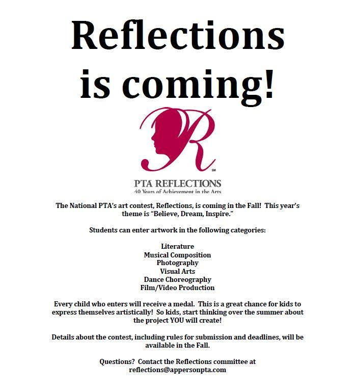 pta reflections announcement letter - Google Search