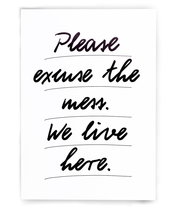 "POSTER ""Please excuse the mess"" by PETERSEN"