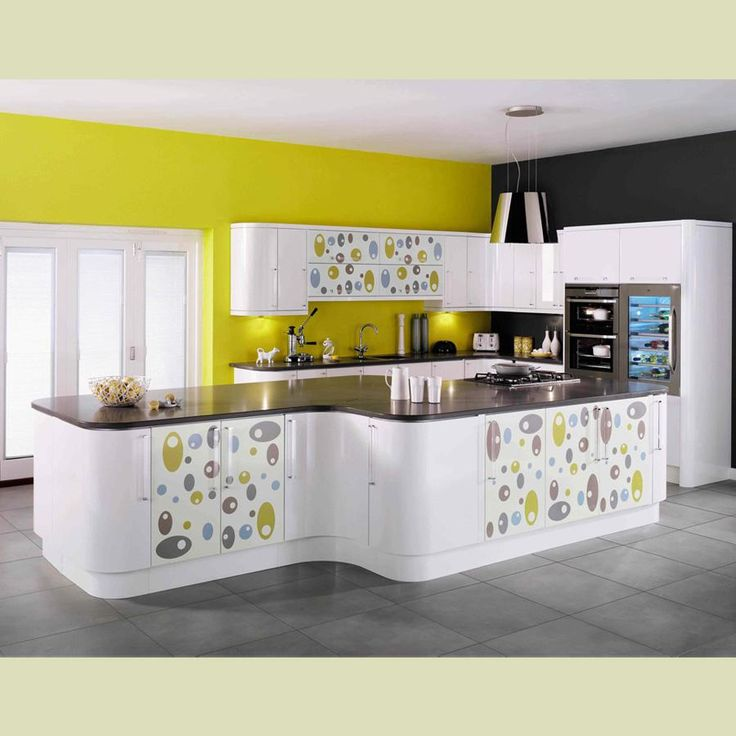Captivating Modular Kitchen Design Concepts 2013 : Delightful Yellow And  Black Modular Kitchen Concept With White Kitchen Cabinet And Ceramic Tile  Floor. Part 67