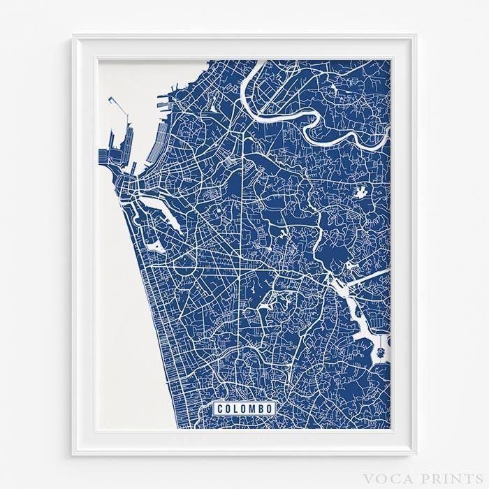 Louisiana Map Alexandria%0A COLOMBO  SRI LANKA STREET MAP PRINT