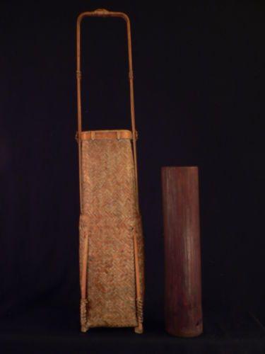 Antique-Vintage-Old-CHINESE-Japanese-IKEBANA-Woven-Handle-Asian-BASKET-w-insert