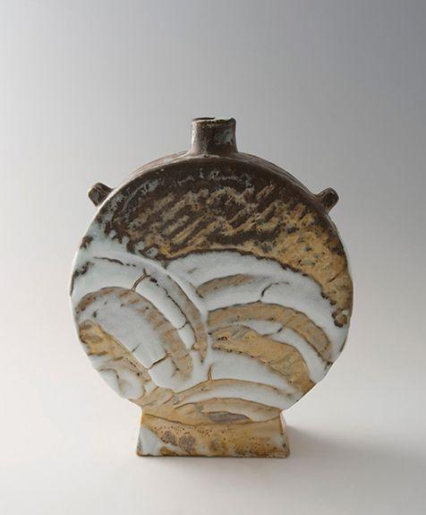 Ken Matsuzaki Yohen Natural Ash Glaze Shino Vase Stoneware