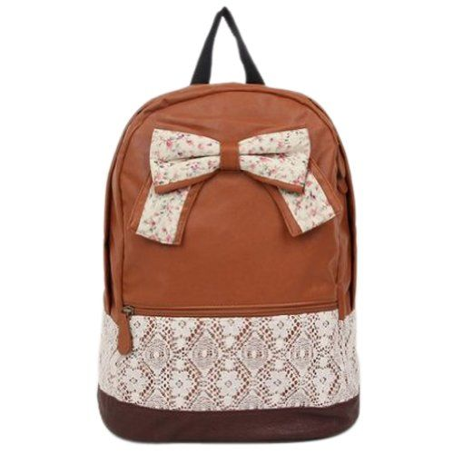 Crazycity New Top Trendy Cute Korean Lace Backpack College Style Leisure Canvas Gilrs Lovely Bow Rucksack Vintage Floral Print School Bag Retro