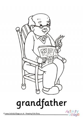 Grandfather Colouring Page