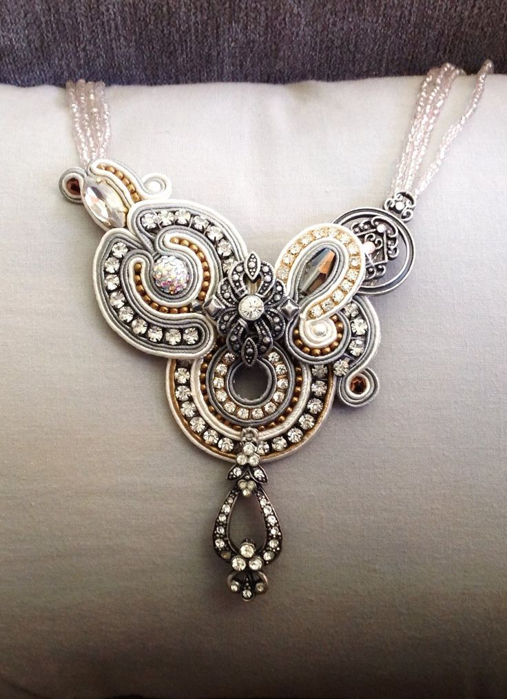 Bridal soutache necklace by Amytea.deviantart.com on @deviantART