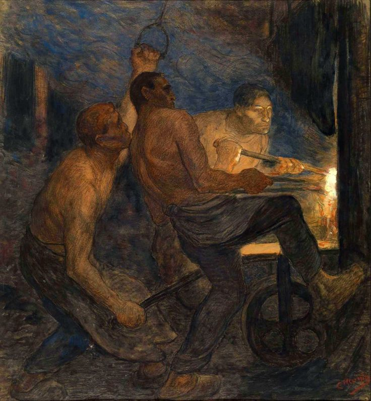 """amare-habeo: """"  Constantin Meunier (Belgian, 1831 - 1905) Puddlers Removing the Molten Iron - The Removal from the Crucible (Puddleurs sortant la loupe - La sortie du creuset), N/D Charcoal and pastel..."""