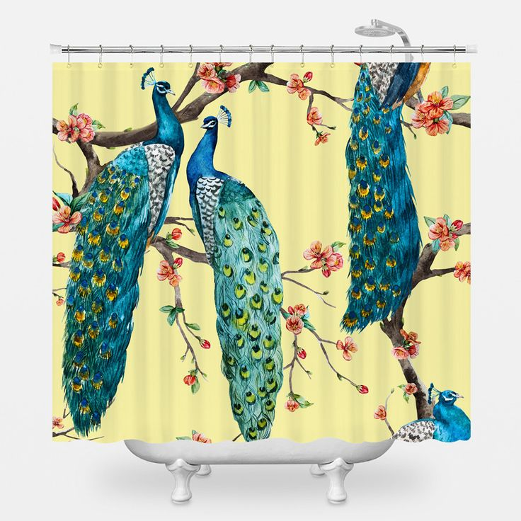 Victorian Peacock – Yellow Shower Curtain