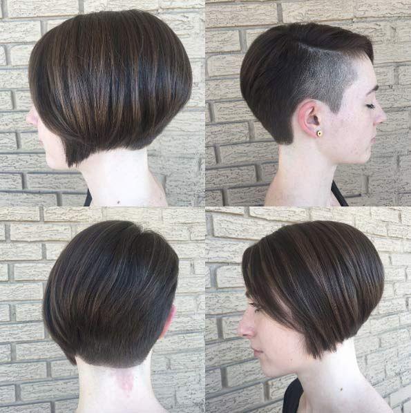 Side shaved bob by Christa | Thick hair styles, Asymmetrical bob haircuts, Haircut for thick hair
