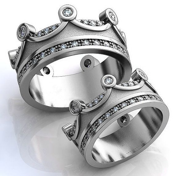 Crown Silver Engagement Rings Crown Mens Band Crown by WorldOfGold
