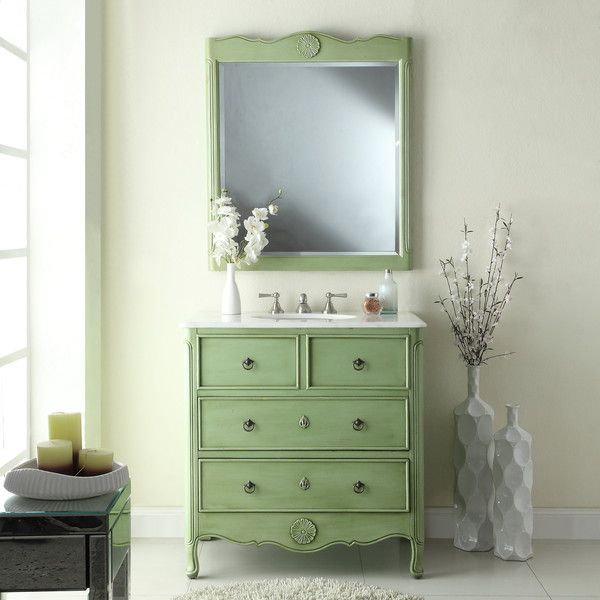Adelina 34 Inch Vintage Bathroom Vanity Vintage Mint Green Finish, White  Marble Counter Top,