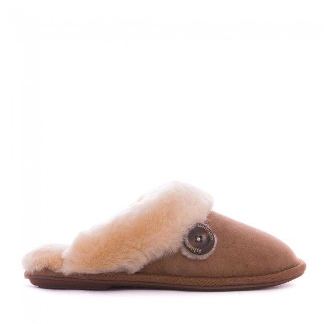 Molly - Sheepskin Mule Slippers - Chestnut - Side