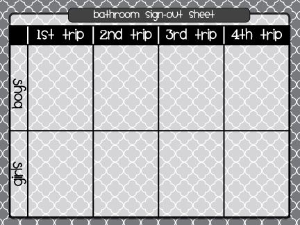 My elementary friends--this bathroom tracking sheet not only provides documentation, but it allows your students to practice telling time! I don't particularly like this format because it seems like it would waste so much paper and ink; I would create my own that's more eco-friendly.