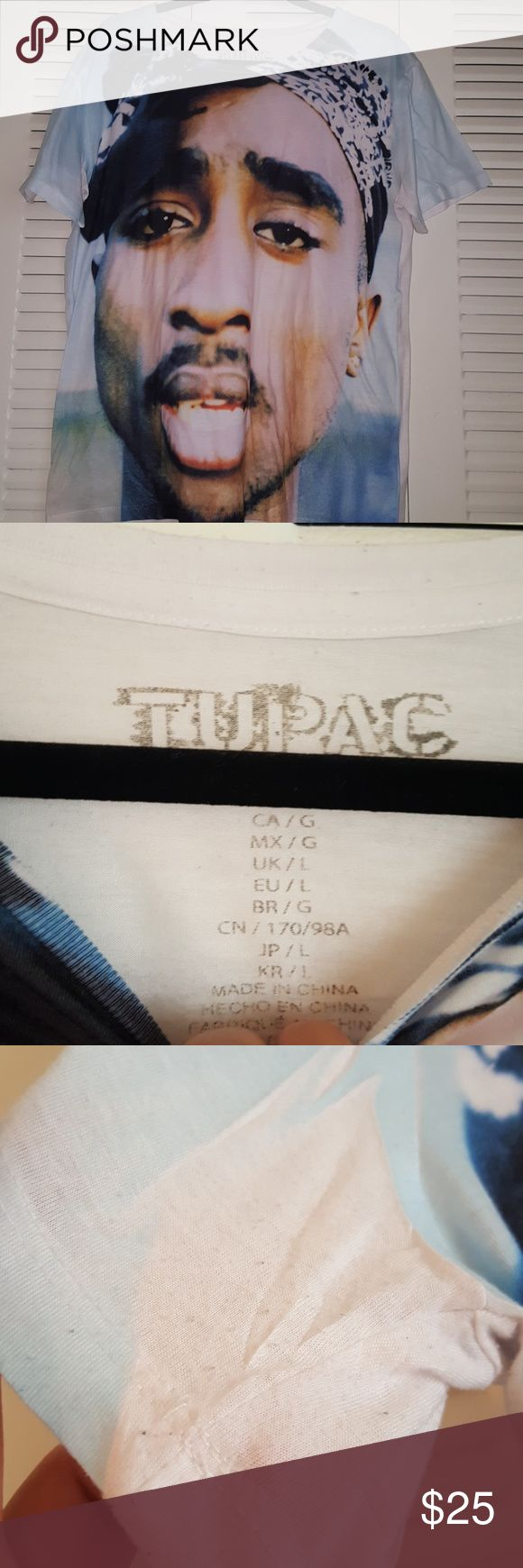 Tupac shirt Selling both items for $25. Both are pre-loved items. Blue top from f21,can't remember where I bought the muscle tee. Junior/women. Forever 21 Tops Muscle Tees