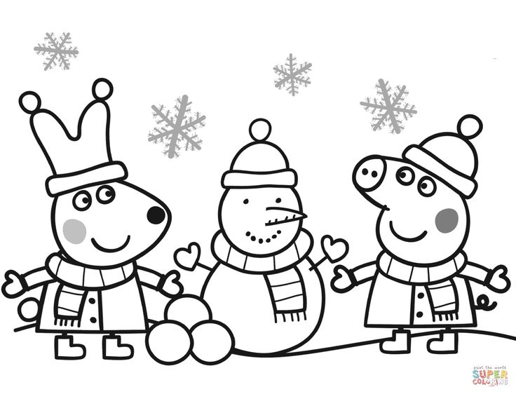 peppa and rebecca are making snowman coloring page from peppa pig category select from 24342 printable crafts of cartoons nature animals bible and many - Free Christmas Printable Coloring Pages