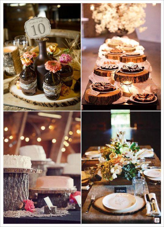 decoration mariage rondin bois centre de table set de table desserte tronc mariage pinterest. Black Bedroom Furniture Sets. Home Design Ideas