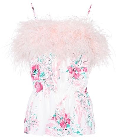 Prada Exclusive to mytheresa.com – feather-trimmed silk top