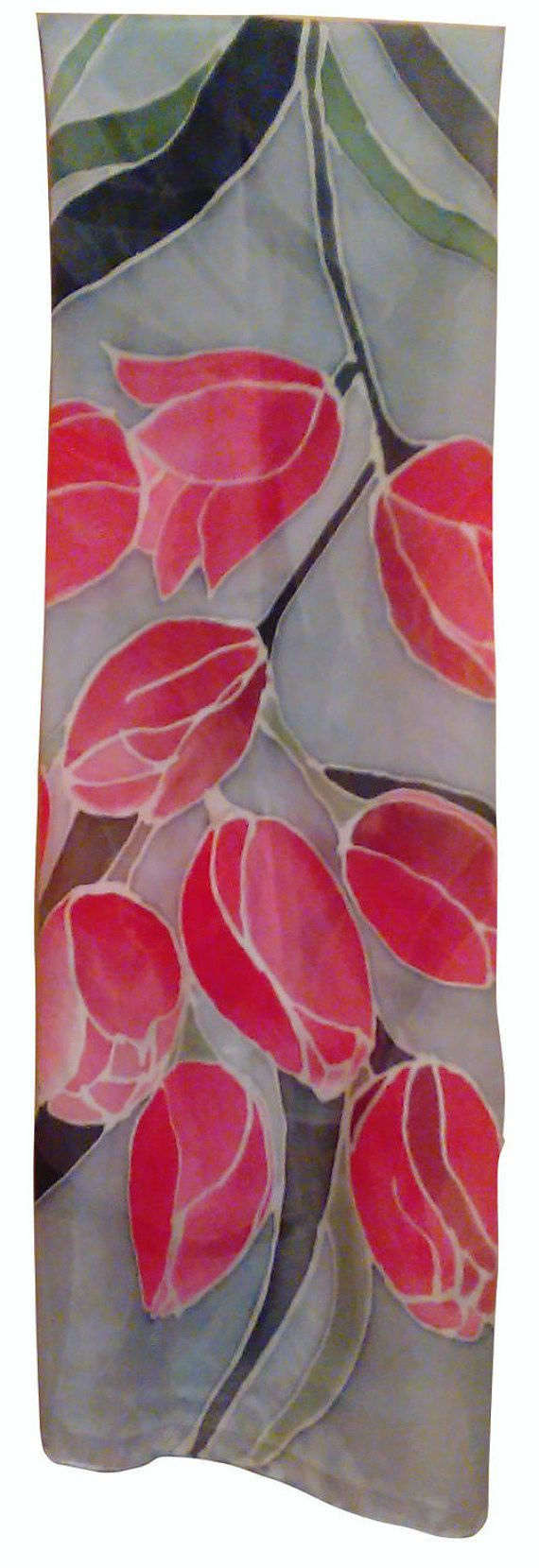Hand Painted Silk Scarf Tulips 140 x 40 cm 55 x 155