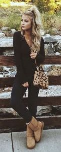 #fall #fashion / black everything + camel boots