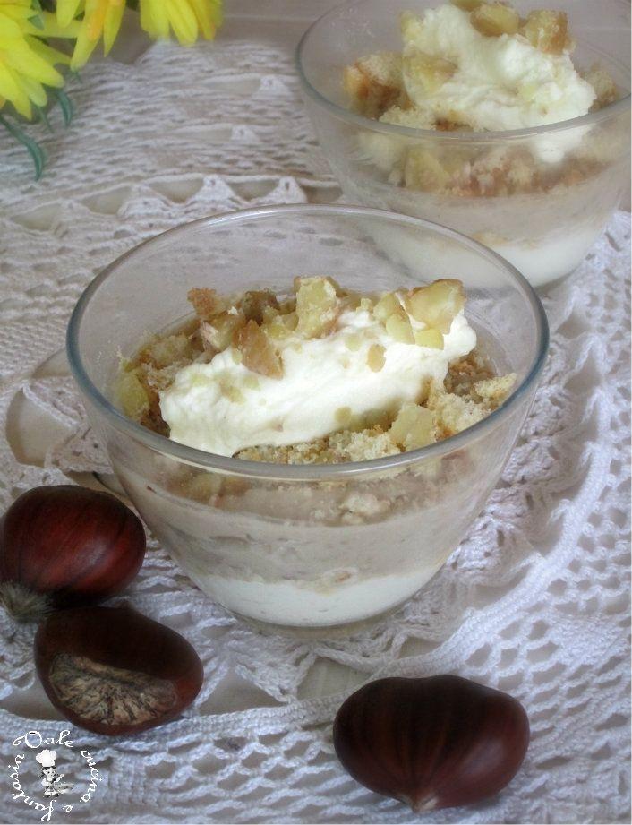 Dessert con crema di ricotta e castagne,raffinato elegante e sublime un dolce al cucchiaio dal gusto unico