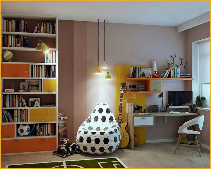 modern sports kids room designs inspiration winsome light pink sports kids room design inspiration with football pouffee and orange yellow bookcase