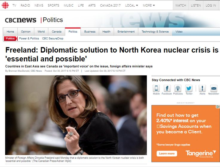 Freeland: Diplomatic solution to North Korea nuclear crisis is 'essential and possible'