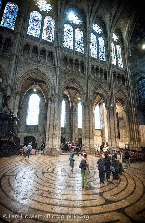 샤르트르 대성당(1194~1260)  고딕구조의 완성 :4분볼트 정착,싱글베이,다발기둥이 지면까지(필리에 칸토네), 플라잉버트레스의 정착, 네이브월 3단구성 정착-천정 높아짐