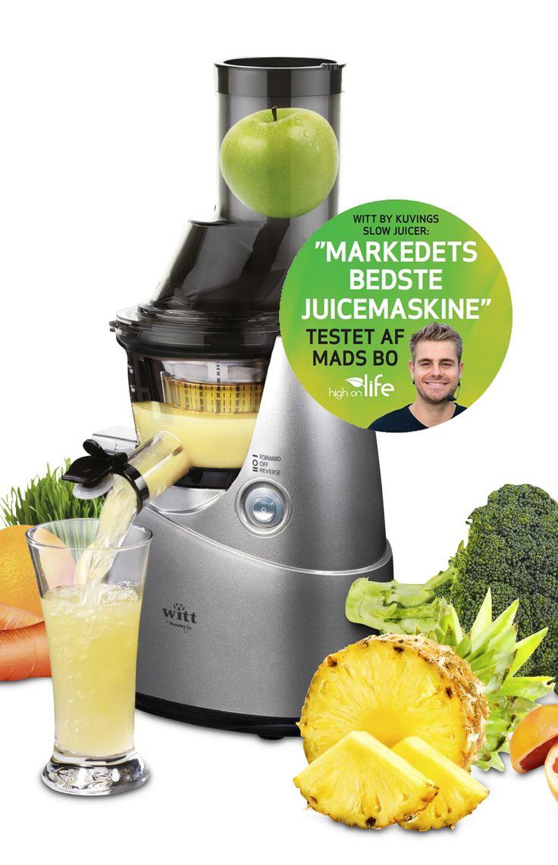 MERE NÆRING. LÆNGERE HOLDBARHED Kuvings B6100S slowjuicer laver 100% ren juice på få sekunder og kan, som den eneste af sin slags, tage hele frugter. Det betyder mindst mulig iltning, så de vigtige næringsstoffer og enzymer bevares, samt at holdbarheden forlænges. #inspirationdk #køkken #køkkenudstyr #wittbykuvings #Juice