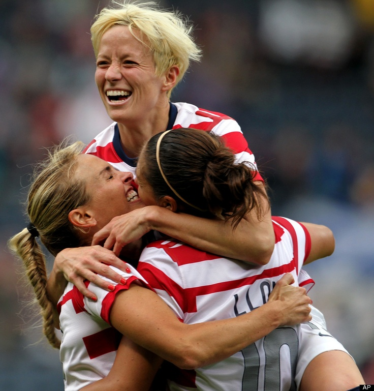 Celebrating Carli Lloyd's goal against Colombia, July 28, 2012. Heather Mitts, Megan Rapinoe, and Lloyd. (AP): Soccer 3, Sports Appreciation, Soccer Team, Soccer Life, Usa Women Soccer, Woman Soccer, Women'S Soccer, Sports Champs, Uswnt Soccer