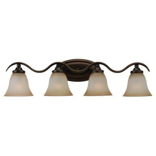 Image On Sea Gull Lighting Rialto Vanity and Bath Bar Ginger Glass Shades and Russet Bronze