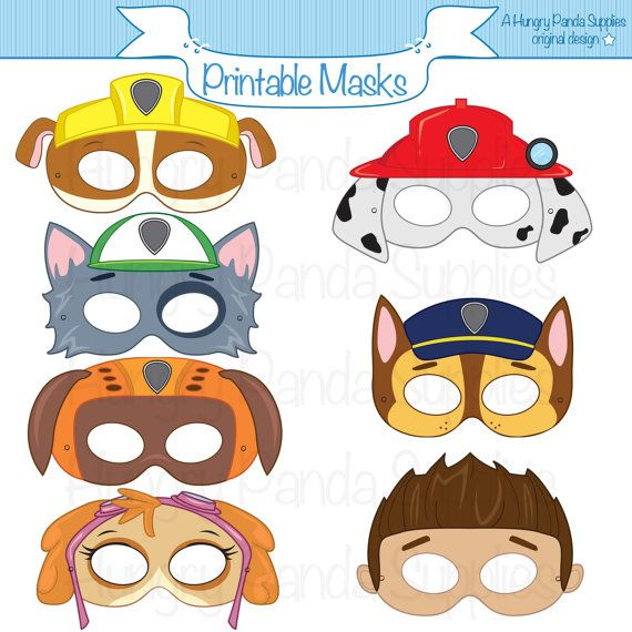 Paws Printable Character Party Masks by HungryPandaSupplies
