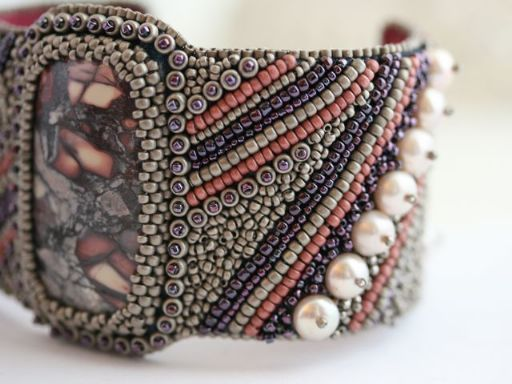 The Jade Dog Designs: Bead Embroidered Cuff. Persistence.