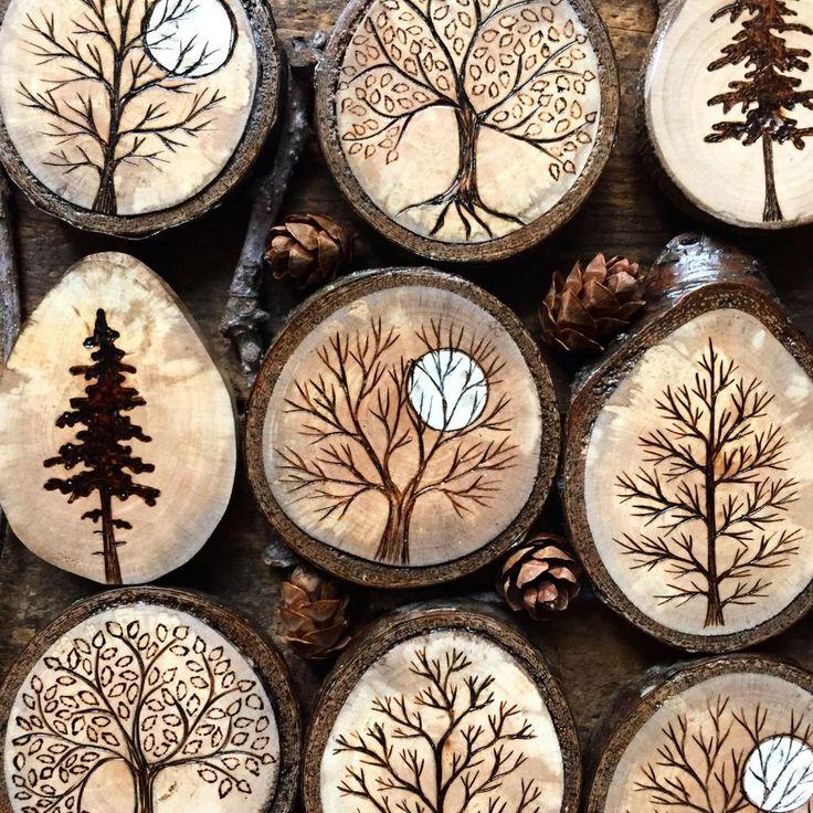 Wood burned pine tree wood slice magnet
