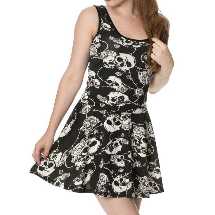 Banned Approach With Caution korte jurk met rozen en schedels print zw