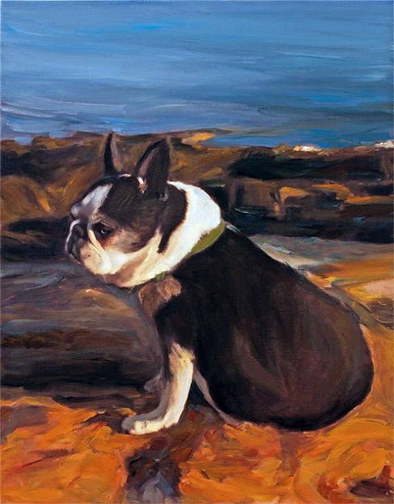 Boston Terrier PERSONALIZED Portrait Dog Painting on Canvas from Photo - Ultimate Gift myopenstudio.ca