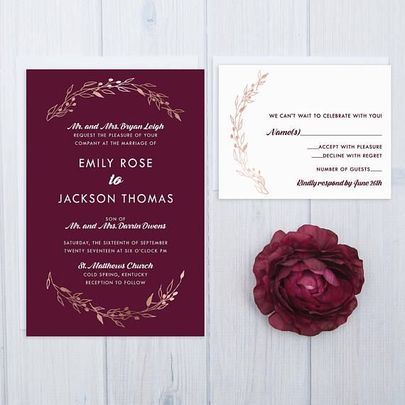 Planning A Wedding Event This Simple Yet Elegant Burgundy Invitation Set Is Bold And Beautiful The Wine Colored