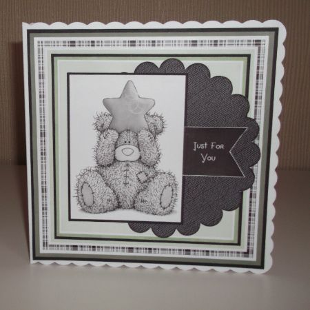 Handmade square scalloped card made from layers of black card stock and digitally printed papers with a cute tatty teddy image for the topper.